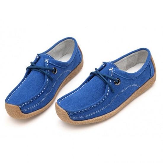 Women Blue color Leather Snail Scrub Flat Shoes image