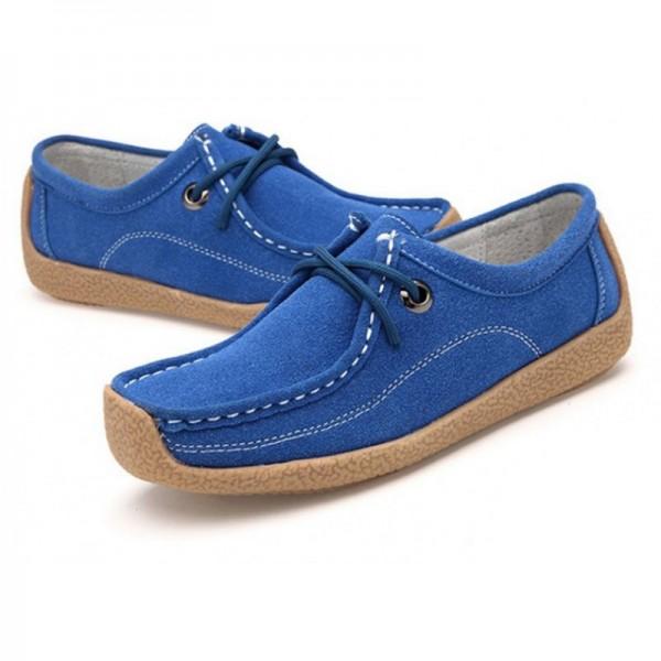 Women Blue Leather Snail Scrub Flat Shoes image