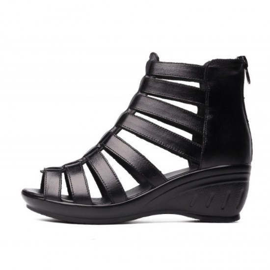 Women Fashion Thick Bottom Fish Mouth Leather Shoes-Black image