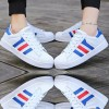 Blue Color Classic Three Bars Shell Head Board Shoes For Women image