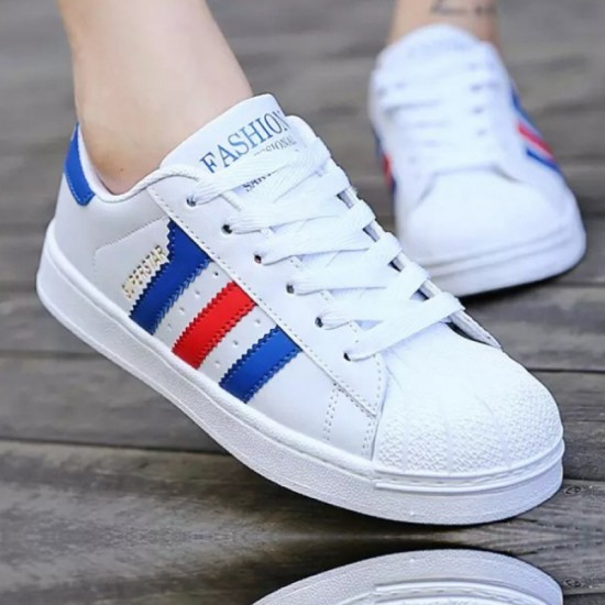Blue Color Classic Three Bars Shell Head Board Canvas Shoes For Women-Blue image