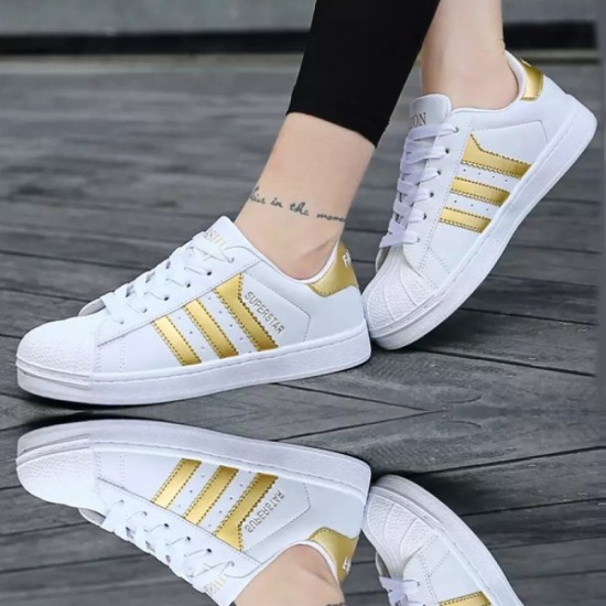 Gold Color Classic Three Bars Shell Head Board Canvas Shoes For Women-Gold image