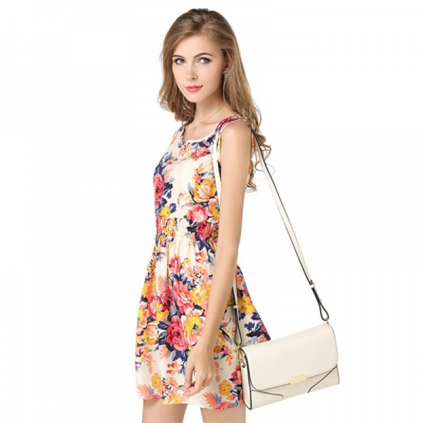 Womens Fashion Multi Color Sleeveless Round Collar Floral Shirts image