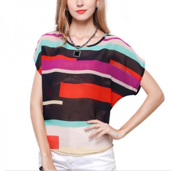 Short Sleeve Women Fashion Irregular Rainbow Colored Shirt image