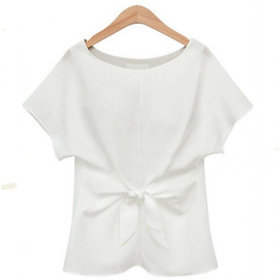 Short Sleeve Women Fashion Round Neck Chiffon Shirt-White image