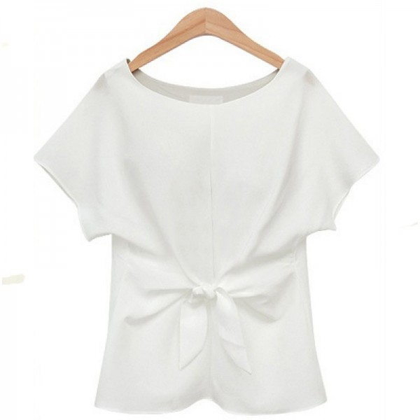 Short Sleeve Women Fashion White Round Neck Chiffon Shirt image