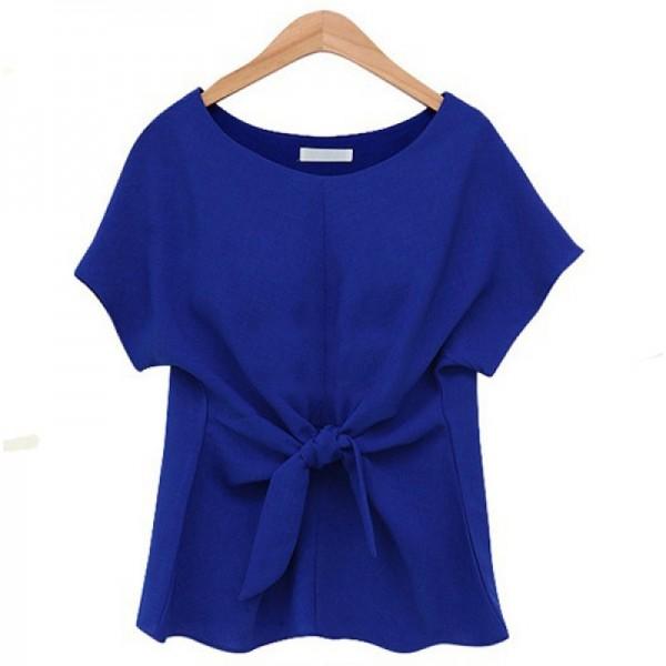 Short Sleeve Women Fashion Blue Round Neck Chiffon Shirt image