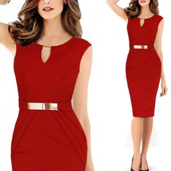 Women Fashion Metal Buckle Slim Temperament Red Pencil Skirt image