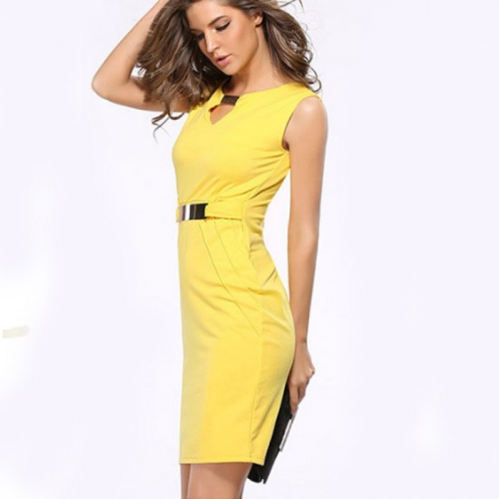 Women Fashion Metal Buckle Slim Temperament Pencil Skirt-Yellow image