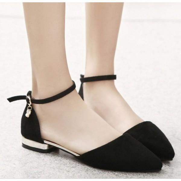 Black Color Velvet Summer Flats For Women image