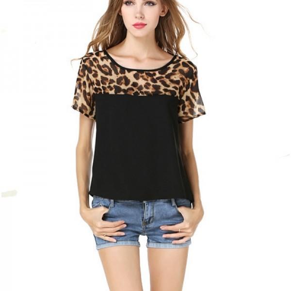 Women Fashion Black Color Leopard Round Neck Short Sleeve Chiffon Shirt image