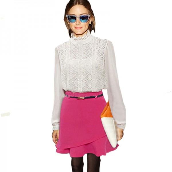 Women Fashion Irregular Pink Color Mini Skirt image