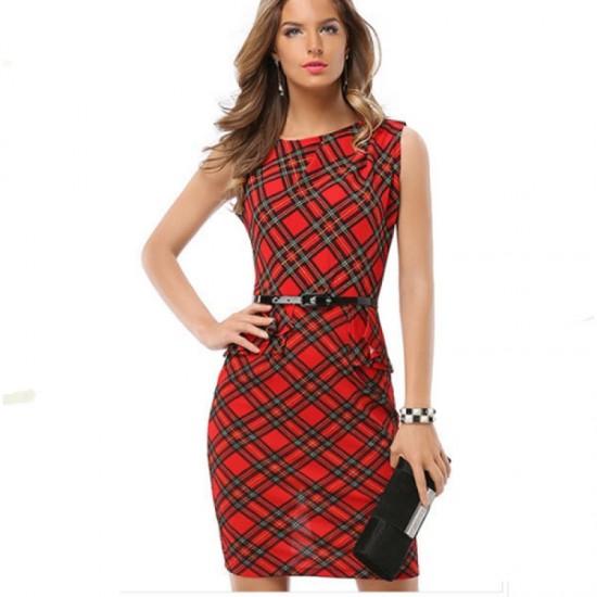 Women Fashion Red & Black Color Sleeveless Round Neck Midi Dress-Red image