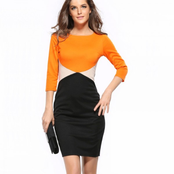 Orange Color Womens Fashion Round Neck Short Sleeves Pencil Skirts image