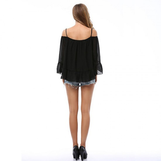 Women Fashion Black Color Sun Protection Chiffon Shirts image