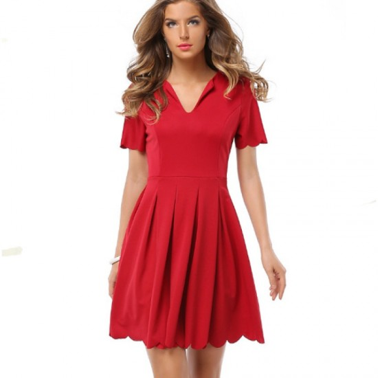 Womens Fashion V Neck Red Color Short Sleeve Pleated Petals Wave Skirt image