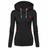 Slim Women Simple Pullover Long Sleeves Black Hoodie image
