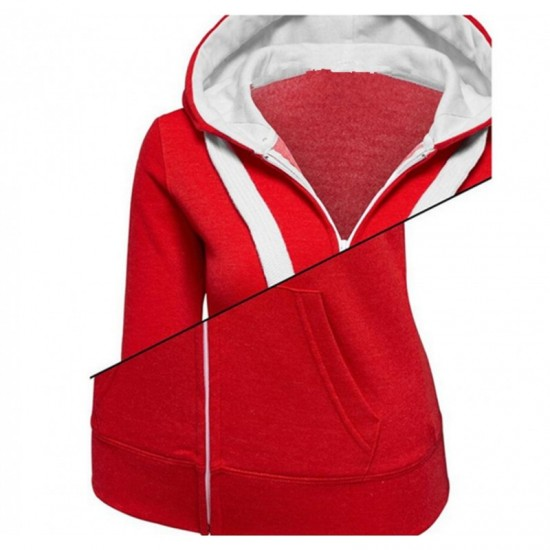 Women Fashion Red with White Shade Zip Body Fit Hoodie Sweater image