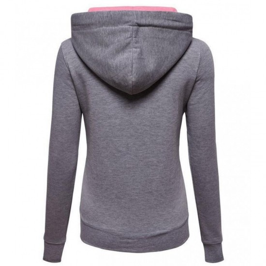 Women Fashion Grey with Pink Shade Zip Body Fit Hoodie Sweater image