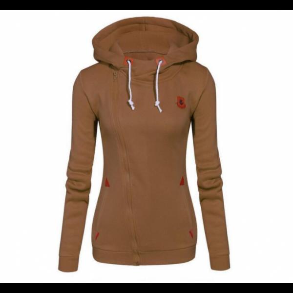 Slim Women Simple Pullover Long Sleeves Brown Hoodie image