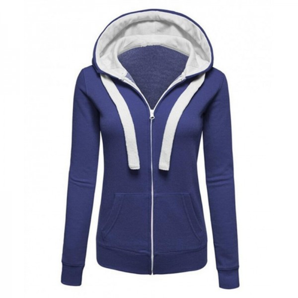 Women Fashion Navy Blue with White Shade Zip Body Fit Hoodie Sweater image