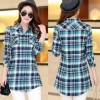 Women Long Paragraph Plaid Green and Blue Cotton Long Sleeve Casual Shirt image