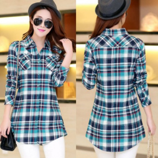 Women Long Paragraph Plaid Cotton Long Sleeve Casual Shirt-Green and Blue image