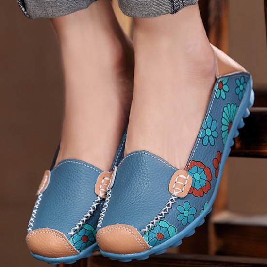 Comfortable Soft Mom Loafer Flats For Women-Blue image