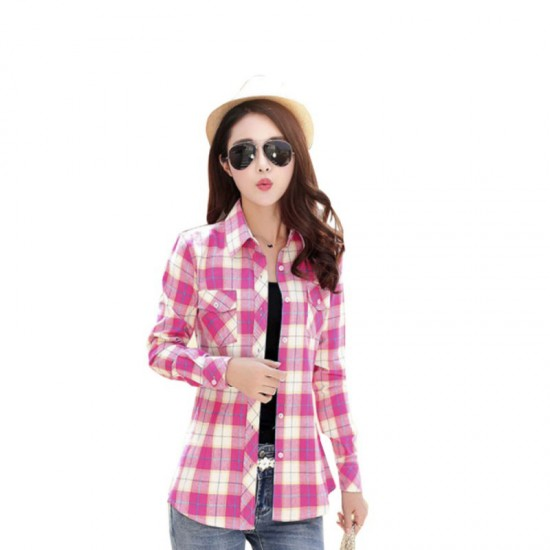 Women Paragraph Checkered Lines Cotton Casual Shirt-Pink image