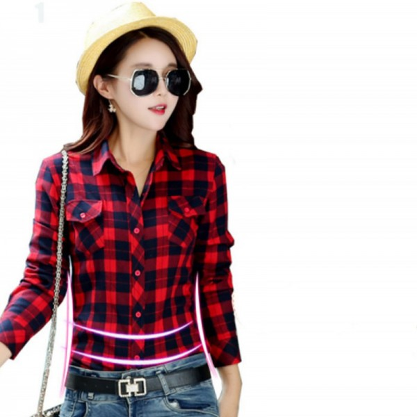 Women Paragraph Checkered Lines Red Cotton With Black Lining Casual Shirt image