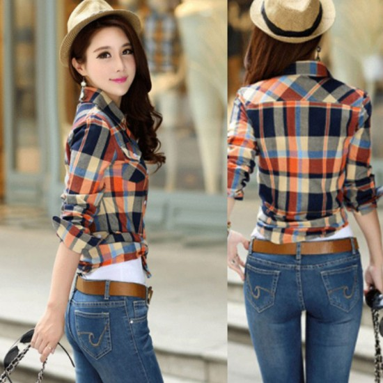 Women Paragraph Checkered Lines Cotton Casual Shirt-Brown image