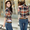 Women Paragraph Checkered Lines Brown Cotton Casual Shirt image