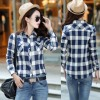 Women Paragraph Checkered Lines Light Blue Cotton Casual Shirt image