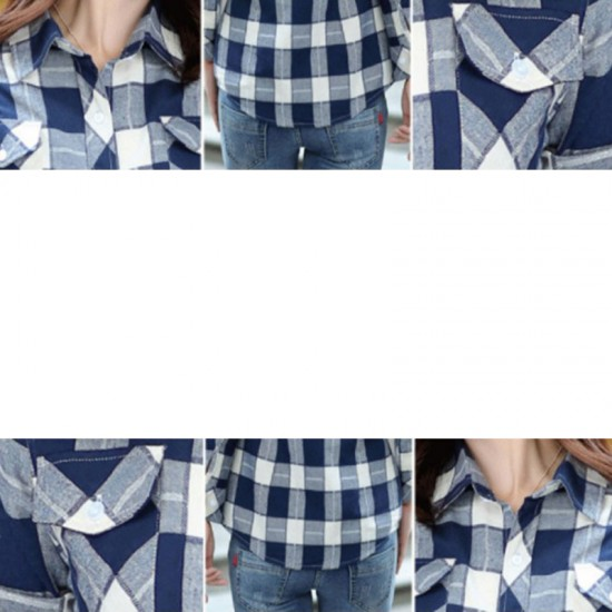 Women Paragraph Checkered Lines Cotton Casual Shirt-Blue image