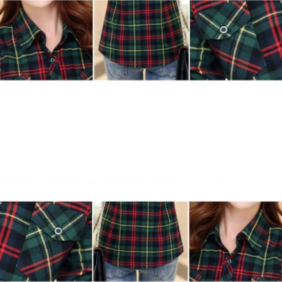 Women Paragraph Checkered Lines Cotton Casual Shirt-Green image