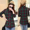 Women Paragraph Checkered Lines Green Cotton Casual Shirt image
