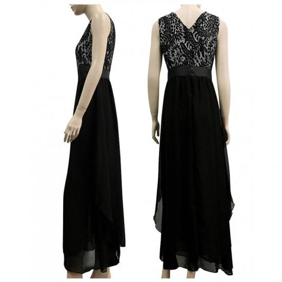 Elegant Lace & Chiffon Long Maxi Evening Party Dress-Black image