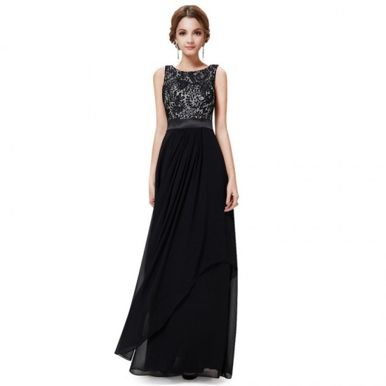 Elegant Lace & Chiffon Long Maxi Evening Party Dress-Black image