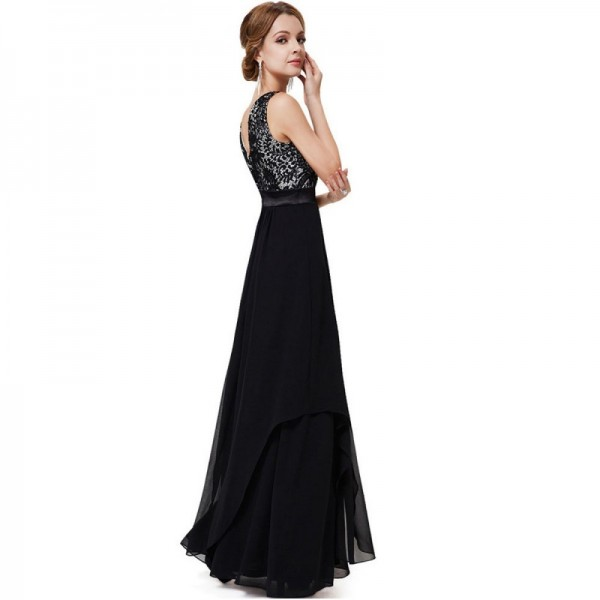 Women Black Elegant Lace & Chiffon Long Maxi Evening Party Dress image