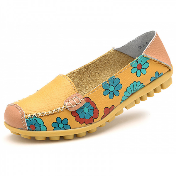 Yellow Color Comfortable Soft Mom Loafer Flats For Women image