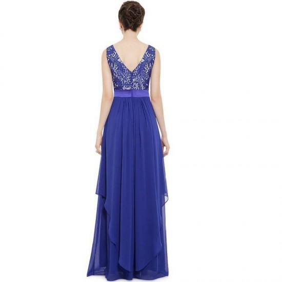 Elegant Lace & Chiffon Long Maxi Evening Party Dress-Blue image
