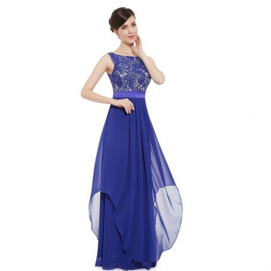 Elegant Lace & Chiffon Long Maxi Evening Party Dress-Blue image
