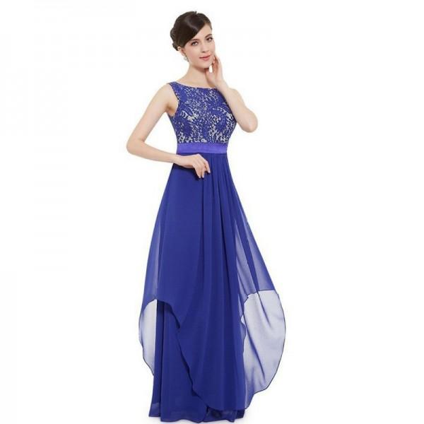 Women Blue Elegant Lace & Chiffon Long Maxi Evening Party Dress image