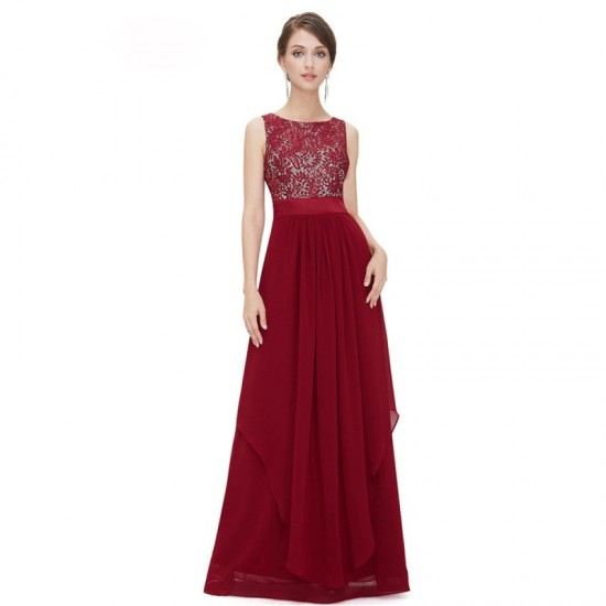 Elegant Lace & Chiffon Long Maxi Evening Party Dress-Red image