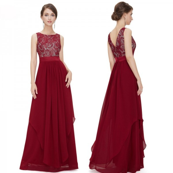 Women Red Elegant Lace & Chiffon Long Maxi Evening Party Dress image
