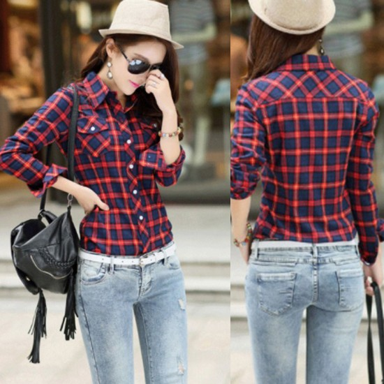Women Long Paragraph Plaid Cotton Long Sleeve Casual Shirt-Red image