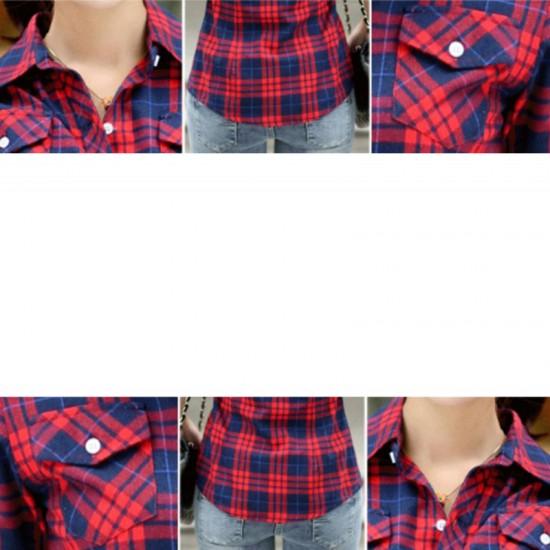 Women Long Paragraph Plaid Cotton Long Sleeve Casual Shirt-Red image
