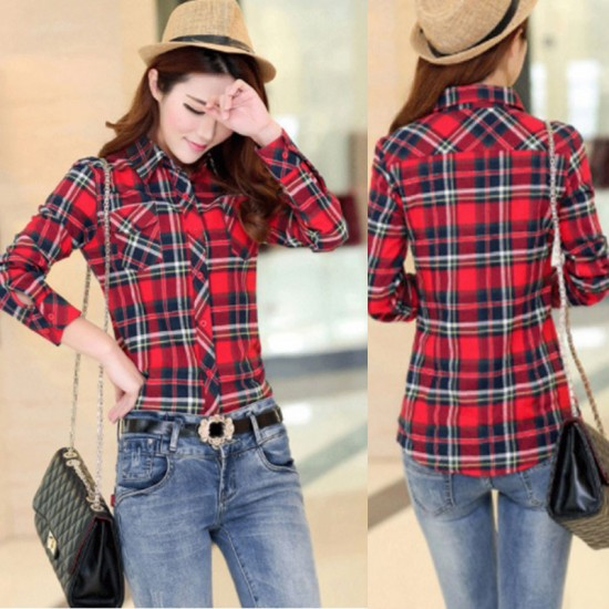 Women Paragraph Checkered Lines Red With White Lining Cotton Casual Shirt-Red image