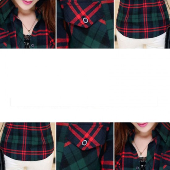 Women Paragraph Checkered Lines Green with Red Lining Cotton Casual Shirt-Green image