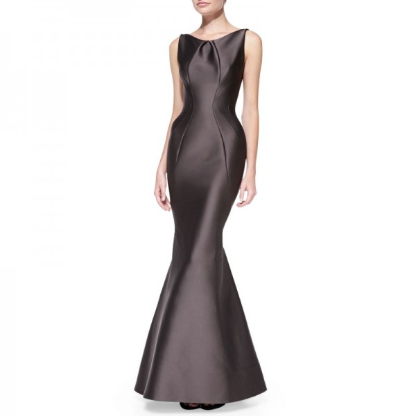 Women high-end Round Neck Sleeveless Seamed Mermaid Brown Gown Dress image